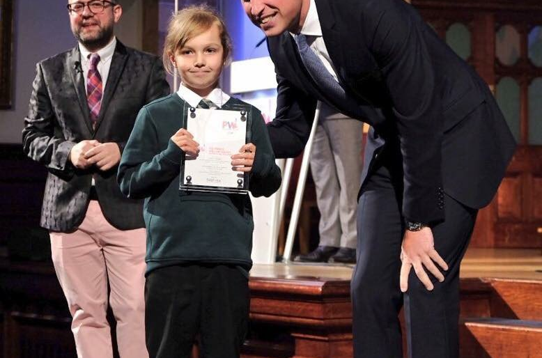 Student at The Croft Primary School Receives Award from Prince William